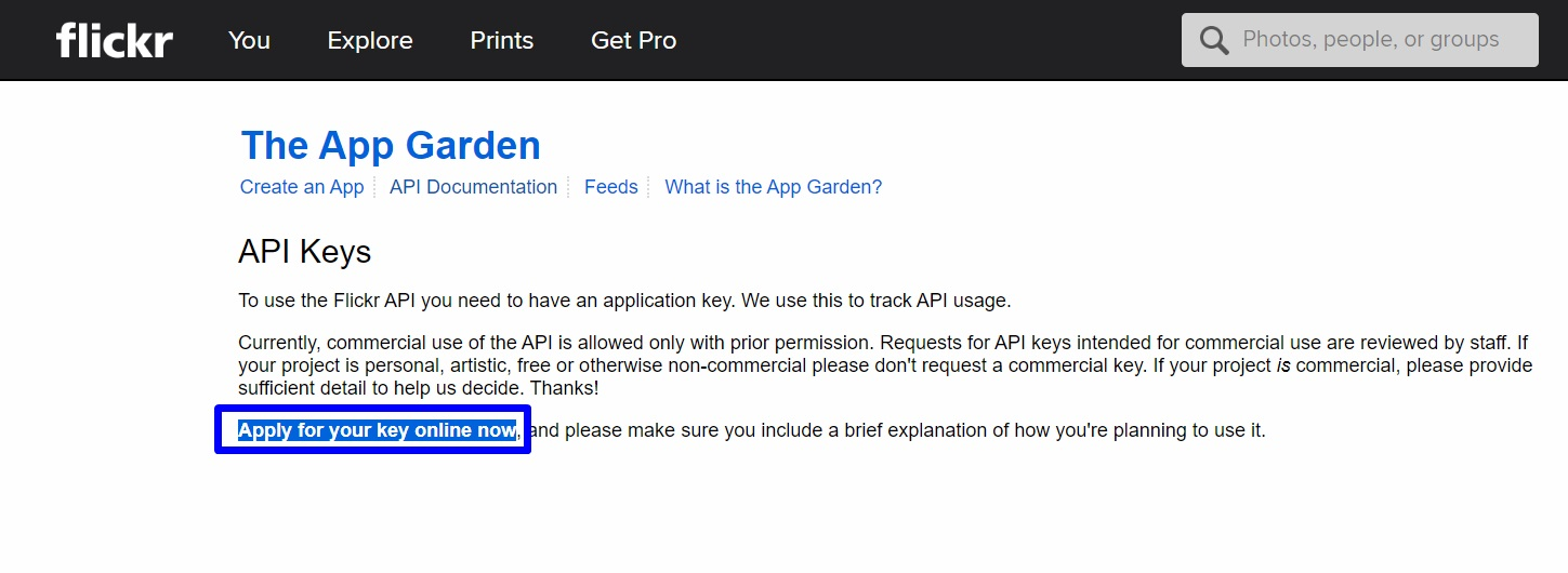 Click on apply for your key online - Flickr API Key