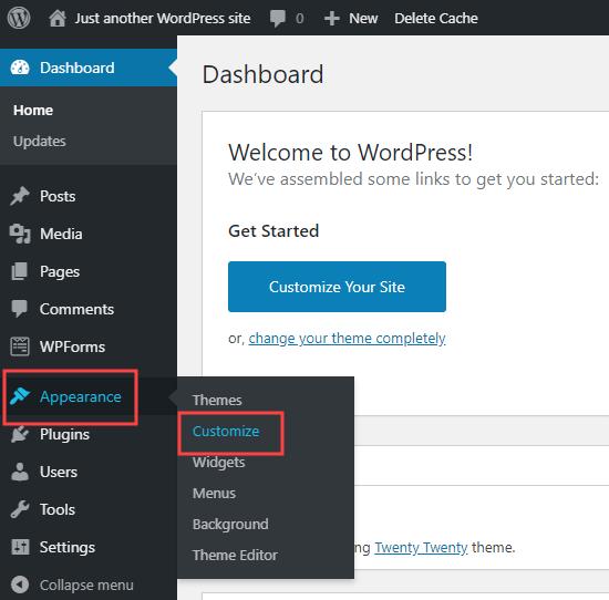 Using WordPress's Theme Customizer -Appearance Customize screen.