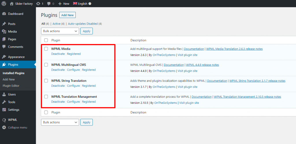 Install WPML Plugin Component