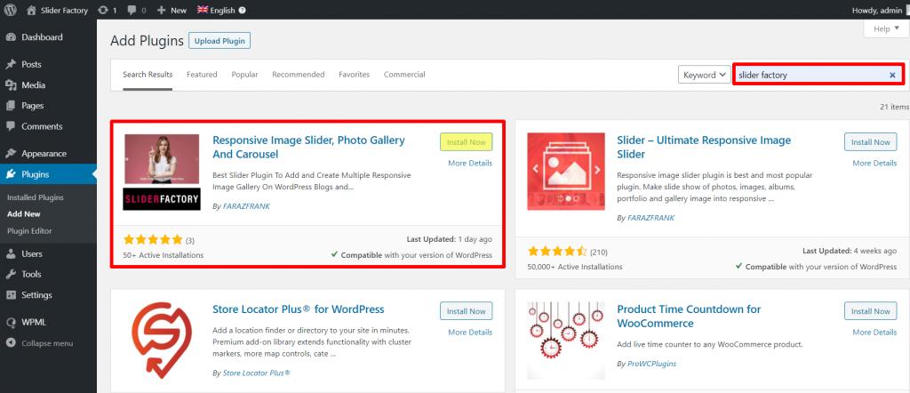 Install Slider Factory Image Slideshow Gallery WordPress Plugin