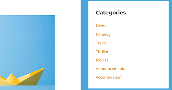 categories listed in the order you prefer