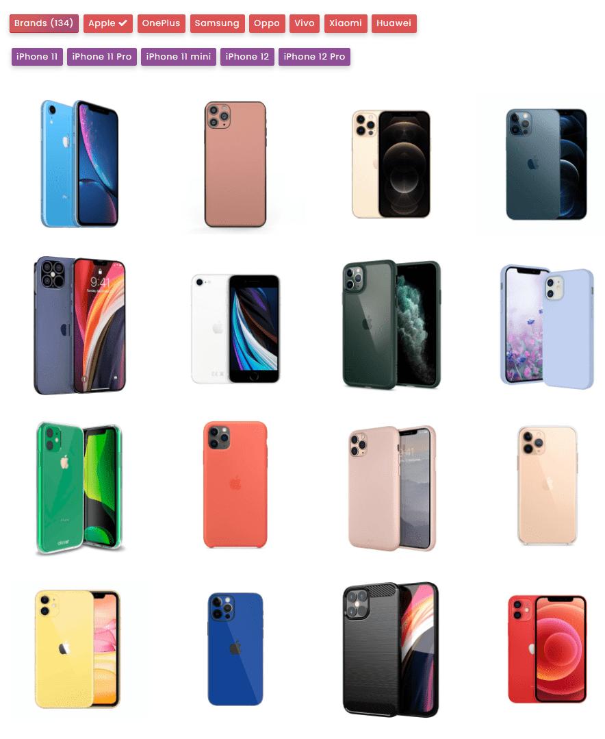 filterable mobile phone galleries - filter gallery premium - wpfrank