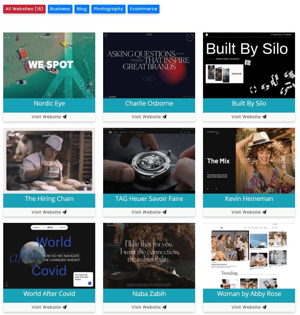 website portfolio and showcase with fiters - filter gallery premium - wpfrank