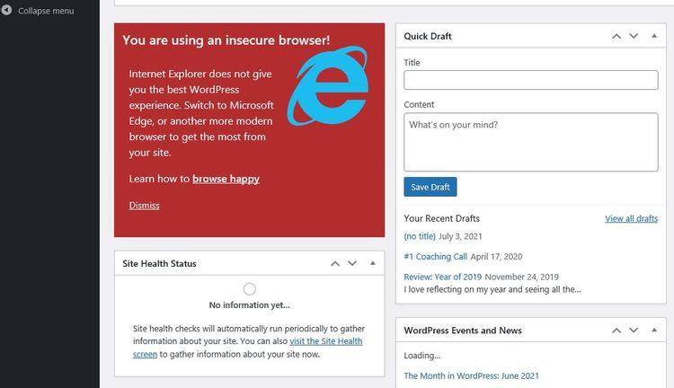 No WordPress on Internet Explorer